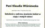 Certfikat Szkolenie z Zakresu ywienia Kobiet w Ciy i Maych Dzieci_Klaudia Winiewska