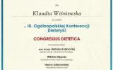 Certyfikat III Oglnopolska Konferencja Dietetyki Cogresus Dietetica_Klaudia Winiewska