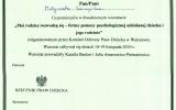 Certyfikat Szkolenie_Moi Rodzice Rozwodz si Formy Pomocy Psychologicznej Jak Pomc Dziecku i Rodzinie_Magorzata Kaczyska