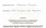 Certyfikta System pomocy dziecku i rodzinie w trudnej sytuacji yciowej_Magorzata Jolanta Kaczyska