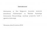 Dyplom UW Katedra Psychologii i Psychoterpaii_Magorzata Kaczyska