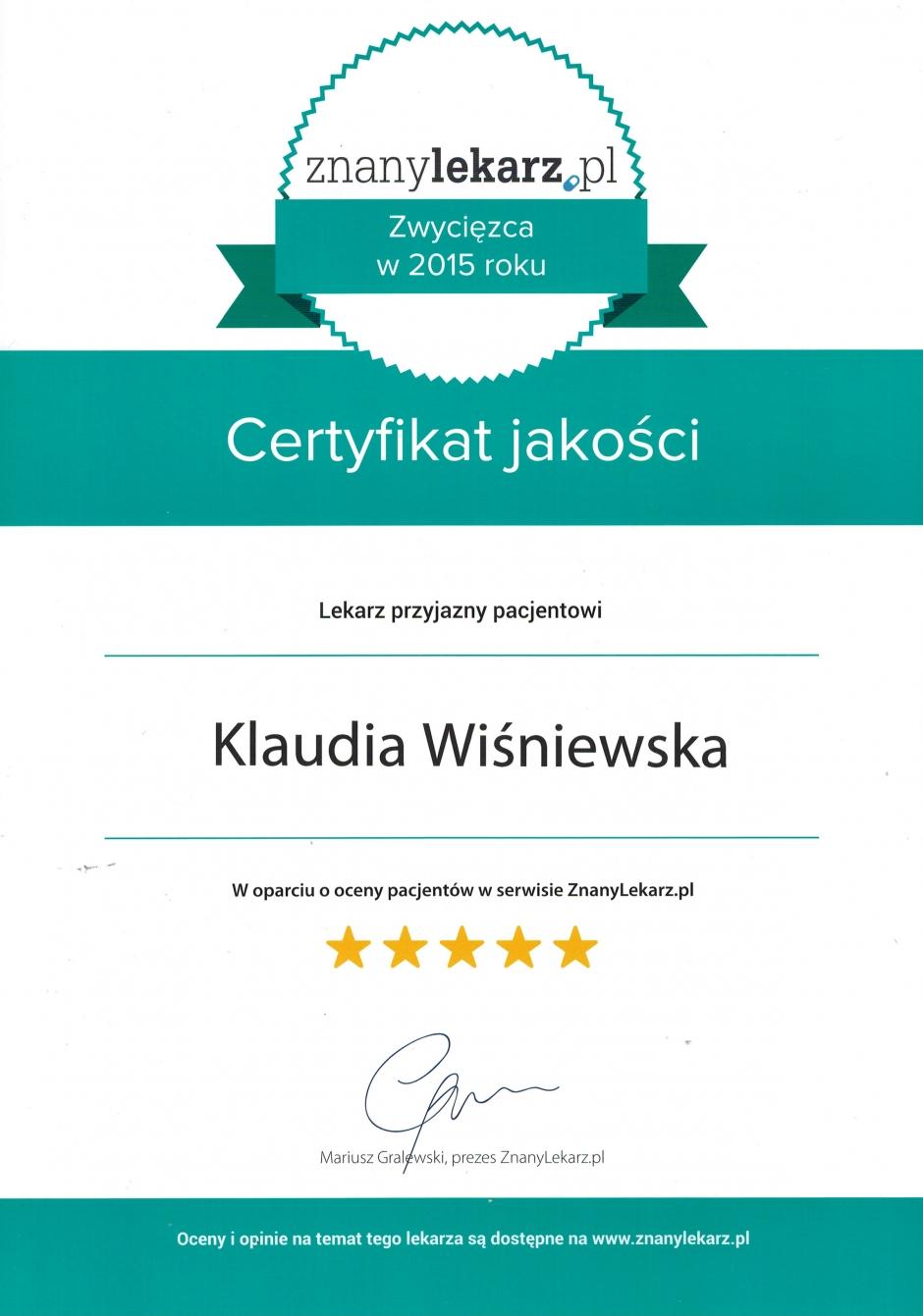 Certyfikat jakości Znanylekarz.pl 2015